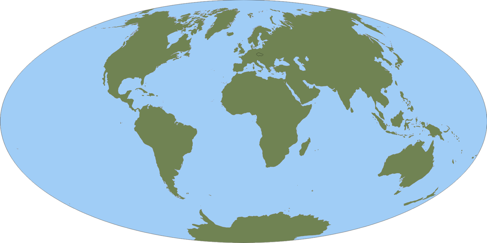 A world map with only oceans and continents distinguished. Czech Republic is slightly highlighted.